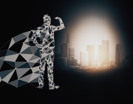 Abstract polygonal hero with cape looking into the distance on dark background with illuminated city. 3D Rendering