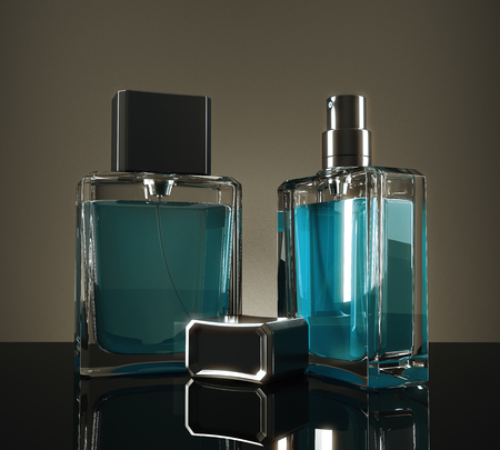 Blue fragrance bottles with reflections on dark background. 3D Rendering