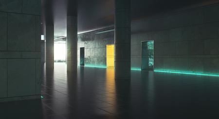 일광과 어두운 복도입니다. 그런 지 인테리어입니다. 3D 렌더링 스톡 콘텐츠