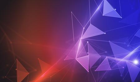Points connectés de wireframe abstrait fond polygonale rouge et bleu. Concept de technologie, innovation, communication et réseau. Rendu 3D Banque d'images - 81792272