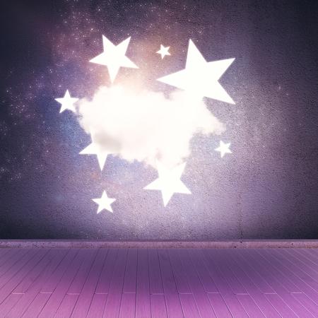 구름과 별 핑크 공간 무대입니다. 3D 렌더링