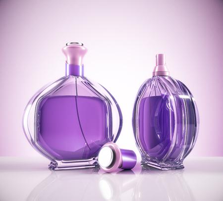 Botella de perfume femenina púrpura dos y tapa sobre fondo claro con reflejos. Estilo de vida y concepto de la moda. Representación 3D