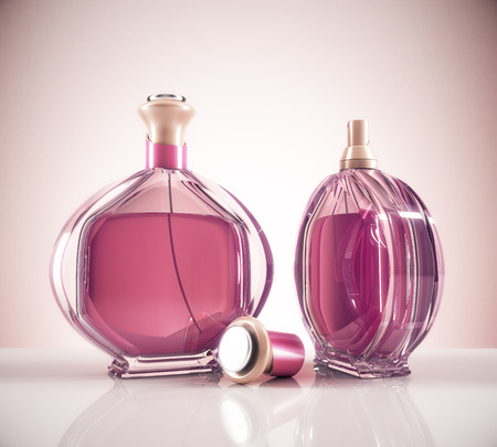 Two pink female perfume bottle and cap on light background with reflections. Lifestyle and fashion concept. 3D Rendering