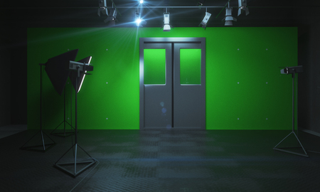Green photo studio with professional equipment. 3D Rendering