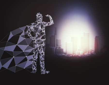 Abstract polygonal hero with cape looking into the distance on dark background with bright city. 3D Rendering 版權商用圖片