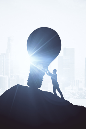 Backlit image of businessman pushing boulder uphill. Bright background with sunlight. Innovation concept. 3D Rendering