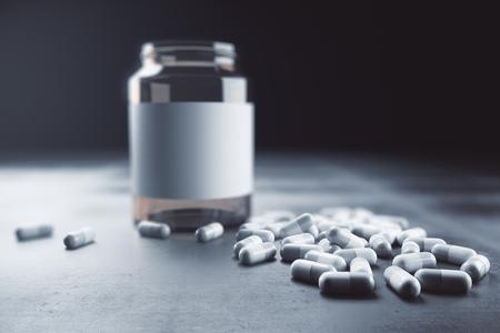 Lege drugsfles op concrete achtergrond. Geneeskunde concept. Bespotten, 3D-rendering
