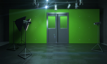 Green photo studio with lighting equipment. 3D Rendering