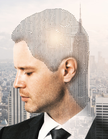 Digital labyrinth headed businessman on bright New York city background. Complexity concept. Double exposure Stock Photo