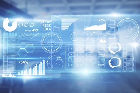 デジタル ビジネス ホログラムとぼやけてインテリア。金融の概念。3 D レンダリング