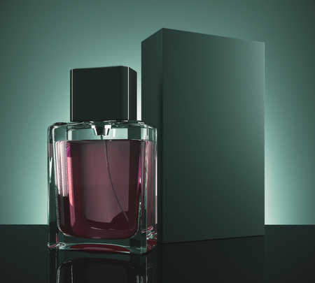 Male perfume and carton packaging on dark green background. Fashion concept. Mock up, 3D Rendering Фото со стока