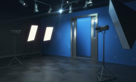 Blaues Fotostudio mit Beleuchtungsausrüstung. 3D-Rendering Standard-Bild - 81795029