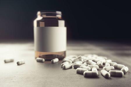 Empty medication bottle on concrete background. Medicine concept. Mock up, 3D Rendering