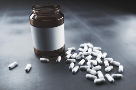 Empty pill bottle on concrete background. Medicine concept. Mock up, 3D Rendering Stok Fotoğraf