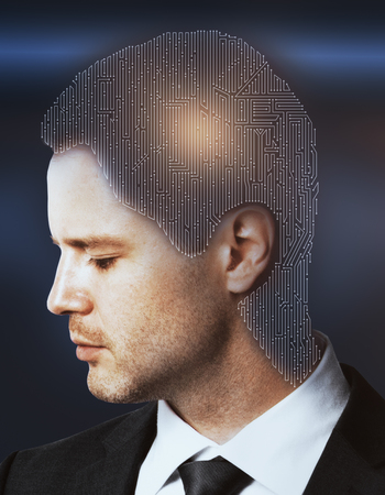 double headed: Digital maze headed businessman on bright blue background. Problem concept. Double exposure Stock Photo