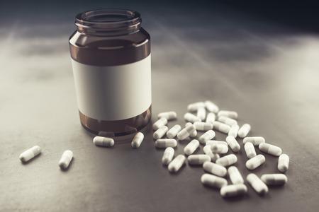 Lege capsulefles op concrete achtergrond. Geneeskunde concept. Bespotten, 3D-weergave