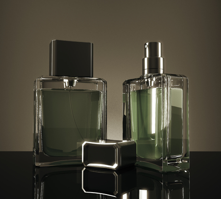 Green perfume bottles with reflections on dark background. 3D Rendering