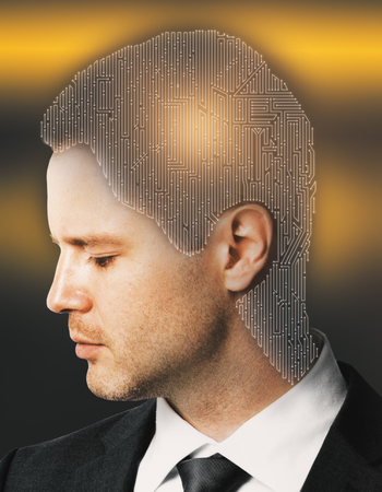 double headed: Digital maze headed businessman on bright yellow background. Challenge concept. Double exposure Stock Photo