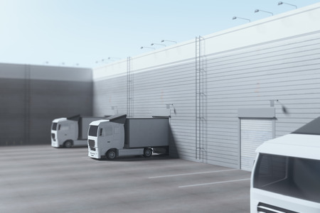 Facade of an industrial building and warehouse with freight cars parked parallelly under bright blue sky. Advertising copy space. Delivery concept. 3D Rendering