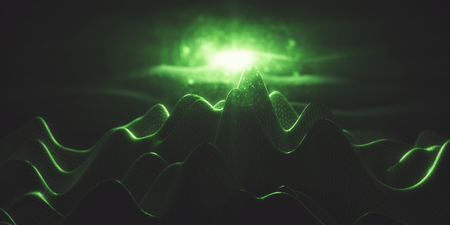 Abstract green polygonal mountains with light. Technology, hi-tech, creativity concept. 3D Rendering Stock Photo