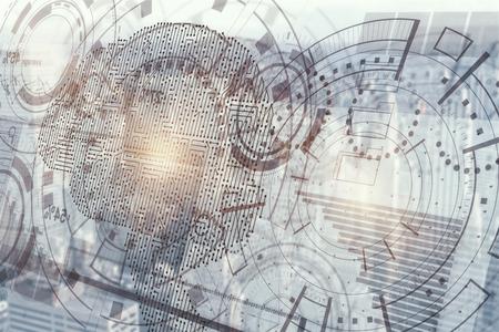 Abstract digitaal bedrijfshologram met cyberhersenen. Kunstmatige geest concept. 3D-weergave