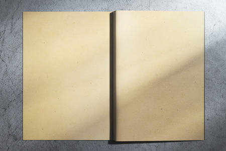 Back view of open aged hardcover notebook on concrete background. Mock up, 3D Rendering
