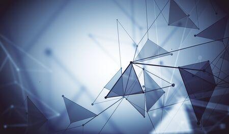 Resumen malla metálica conectado punto gris fondo poligonal. Tecnología, innovación y concepto de red. Representación 3D Foto de archivo - 82157460