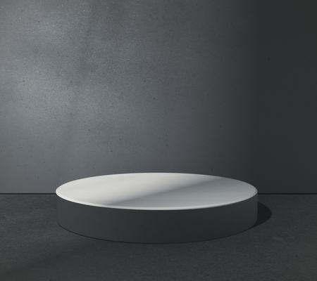 Empty round pedestal in abstract grungy concrete room. Product placement concept. Mock up, 3D Rendering