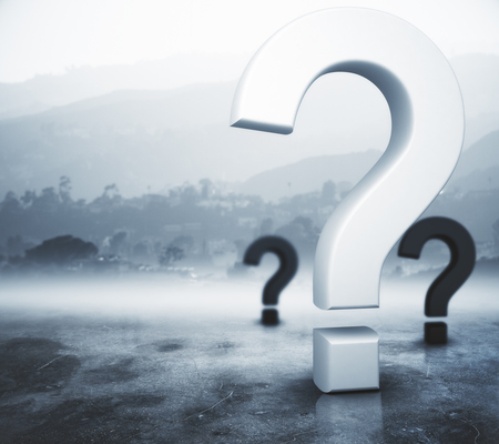 solved: Question marks on abstract foggy gray background. Ask concept. 3D Rendering