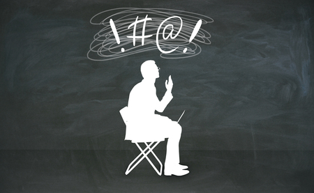 Abstract cursing man silhouette with bleep writing over head in chalkboard room. 3D Rendering Stock Photo