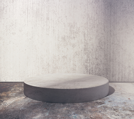 Empty round podium in abstract grungy concrete room. Product placement concept. Mock up, 3D Rendering