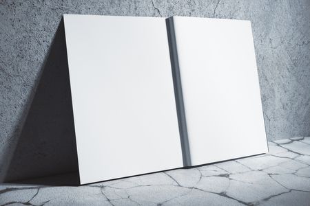 Side view of open white hardcover copybook leaning on concrete wall. Abstract supplies, stationery items. Mock up, 3D Rendering