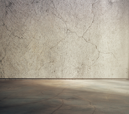 empty warehouse: Textured concrete interior. Blank wall and floor. Mock up, 3D Rendering Stock Photo