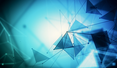 Abstract mesh wireframe connected point blue polygonal backdrop. Technology, innovation and network concept. 3D Rendering