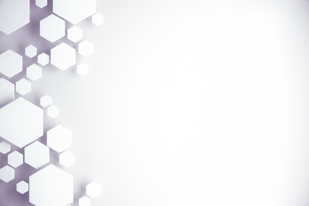 Abstract white hexagonal background with copy space. 3D Rendering