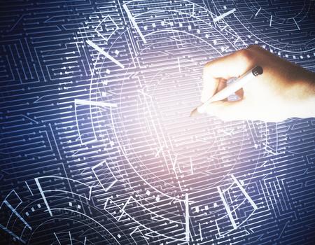 Hand die abstracte gloeiende digitale bedrijfsinterface trekt. Technologie, analytics en technologie concept. 3D-weergave