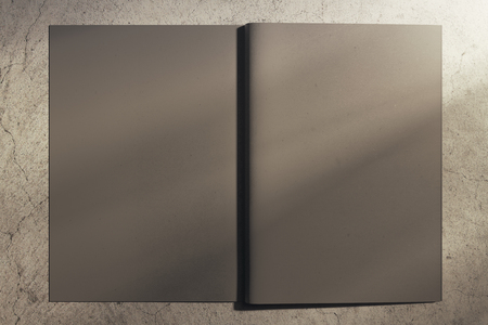 Back view of open gray hardcover notebook on concrete background. Mock up, 3D Rendering