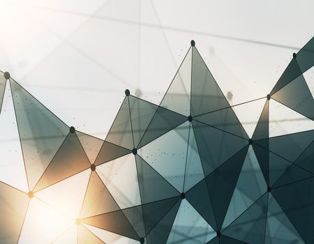 Abstract light low poly polygonal mesh technology backdrop. 3D Rendering 版權商用圖片