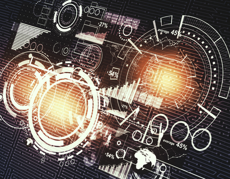 Gloeiende digitale zakelijke interface. Technologie, analyse en netwerkconcept. 3D-weergave