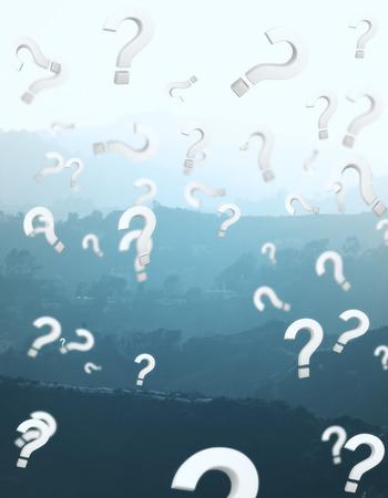 疑問符雨と抽象的な風景の背景。よくある質問コンセプト。3 D レンダリング