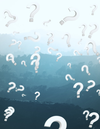 Abstract landscape background with falling question mark rain. FAQ concept. 3D Rendering