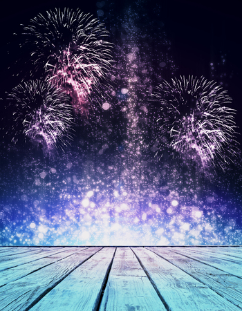 Abstract sparkly stage with fireworks. Holiday concept Imagens