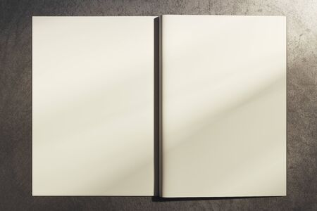 hard: Back view of open white hardcover notepad on concrete background. Mock up, 3D Rendering