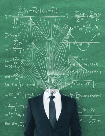 Headless businessman with abstract scribble on blackboard background with mathematical formulas. Science concept