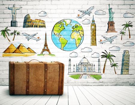 Bruine koffer in baksteenruimte met reisschets op muur. Reizend concept. 3D-weergave Stockfoto