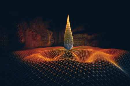 Abstract orange polygonal flame on dark background. Art, technology and innovation concept. 3D Rendering