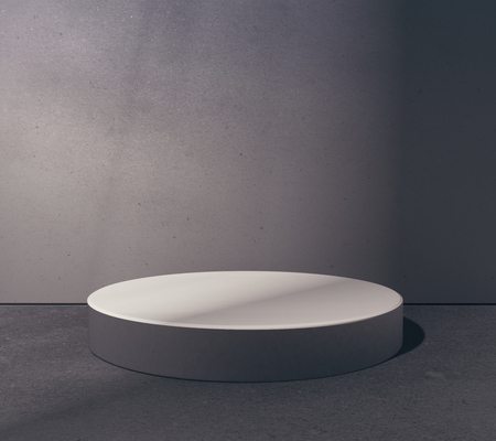Empty round platform in abstract grungy concrete room. Product placement concept. Mock up, 3D Rendering