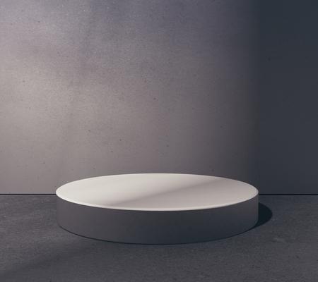 Vaciar la plataforma redonda en la sala de hormigón abstracta grungy. Concepto de colocación de productos. Mock up, renderizado en 3D Foto de archivo - 82668744