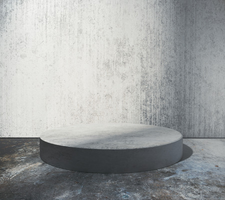Empty round stage in abstract grungy concrete room. Product placement concept. Mock up, 3D Rendering Stock Photo