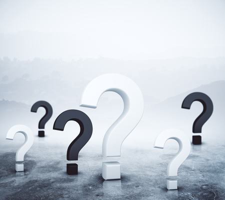 Question marks on abstract foggy gray background. Confusion concept. 3D Rendering Stock Photo